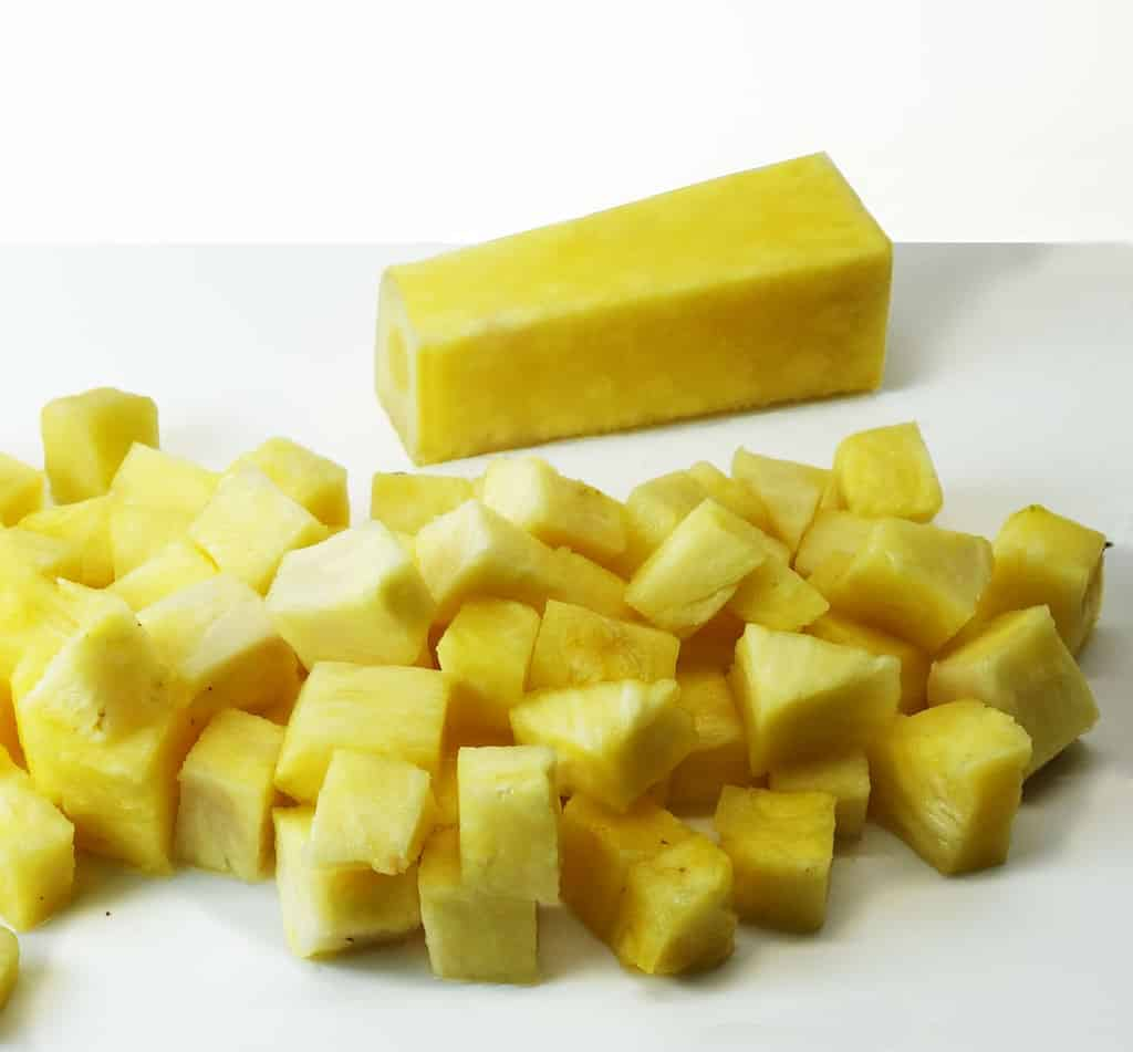 4 pineapple cut off core and cubed