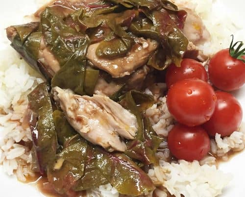 Balsamic chicken over rice