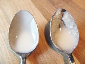 Joghurt mit hoher und niedriger Temperatur herzustellen, macht diesen cremiger (linker Löffel) als das Kultivieren bei ausschließlich hoher Temperatur (rechter Löffel).